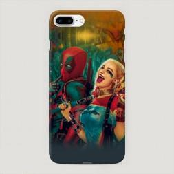 Пластиковый чехол Дэдпул и Харли на iPhone 7 Plus