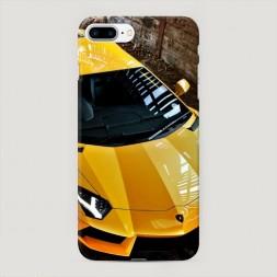 Пластиковый чехол Ламборгини желтый на iPhone 7 Plus