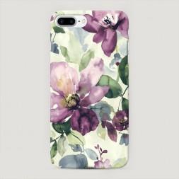 Пластиковый чехол Сиреневые цветы-акварель на iPhone 7 Plus