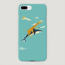Пластиковый чехол Жираф на акуле на iPhone 7 Plus