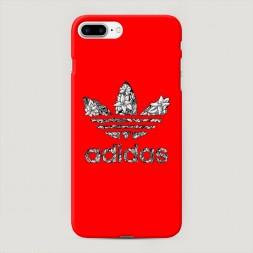 Пластиковый чехол Адидас на красном фоне на iPhone 7 Plus