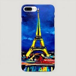 Пластиковый чехол Эйфелева башня гуашь на iPhone 7 Plus