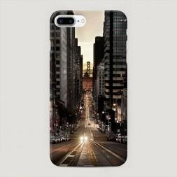 Пластиковый чехол Нью-Йорк в сумерках на iPhone 7 Plus