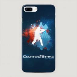 Пластиковый чехол CS logo на синем на iPhone 7 Plus