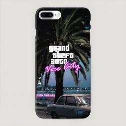 Пластиковый чехол GTA vice city пальмы на iPhone 7 Plus
