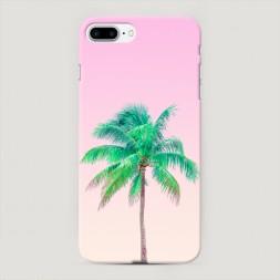 Пластиковый чехол Пальма на розовом фоне на iPhone 7 Plus