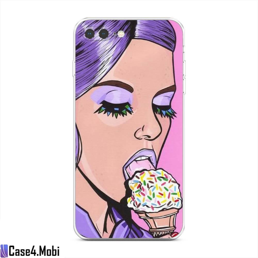 Силиконовый чехол Девушка с мороженым на iPhone 7 Plus