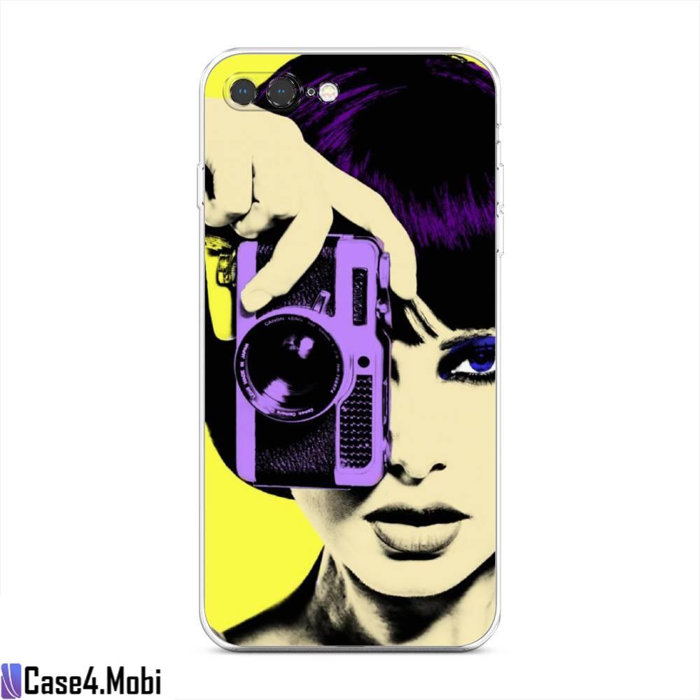 Силиконовый чехол Девушка с фотоаппаратом на iPhone 7 Plus