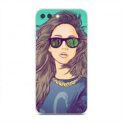 Силиконовый чехол Девушка в очках на iPhone 7 Plus