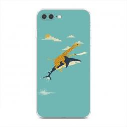 Силиконовый чехол Жираф на акуле на iPhone 7 Plus
