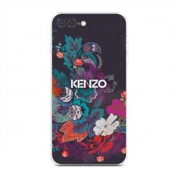 Силиконовый чехол Кензо в цветах на iPhone 7 Plus