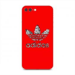 Силиконовый чехол Адидас на красном фоне на iPhone 7 Plus