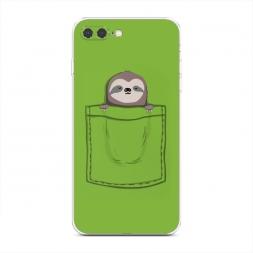 Силиконовый чехол Ленивец в кармане на iPhone 7 Plus