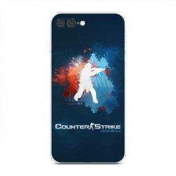 Силиконовый чехол CS logo на синем на iPhone 7 Plus