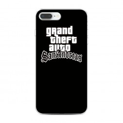 Силиконовый чехол GTA san andreas черный фон на iPhone 7 Plus