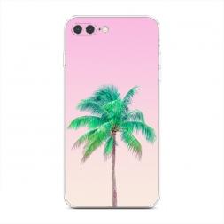 Силиконовый чехол Пальма на розовом фоне на iPhone 7 Plus