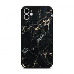 Матовый силиконовый чехол Черный мрамор уголок на iPhone 11