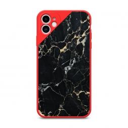 Матовый силиконовый чехол Черный мрамор уголок на iPhone 11, iPhone 11 Черный мрамор уголок красный