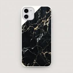 Матовый силиконовый чехол Черный мрамор уголок на iPhone 11, iPhone 11 Черный мрамор уголок белый