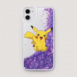 Жидкий чехол с блестками Пикачу машет на iPhone 11, iPhone 11 Пикачу машет Фиолетовый