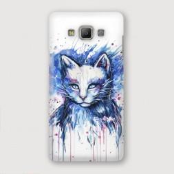 Пластиковый чехол Кот синяя краска на Samsung Galaxy A3