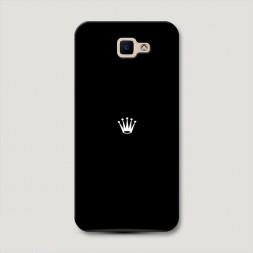 Пластиковый чехол Белая корона на черном фоне на Samsung Galaxy J5 Prime 2016