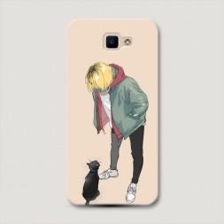 Пластиковый чехол Haikyuu Кенма и котенок на Samsung Galaxy J5 Prime 2016