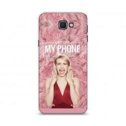 Cиликоновый чехол Get off my phone на Samsung Galaxy J5 Prime 2016