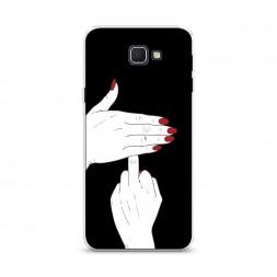 Cиликоновый чехол Fuck на черном фоне на Samsung Galaxy J5 Prime 2016