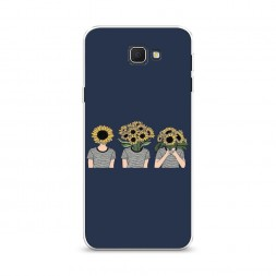 Cиликоновый чехол Девочки с подсолнухами на Samsung Galaxy J5 Prime 2016