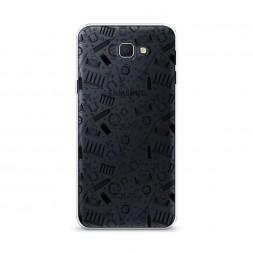 Cиликоновый чехол Достопримечательности графика черная на Samsung Galaxy J5 Prime 2016