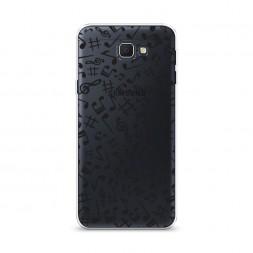 Cиликоновый чехол Ноты фон черный на Samsung Galaxy J5 Prime 2016