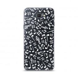 Cиликоновый чехол Ноты фон белый на Samsung Galaxy J5 Prime 2016