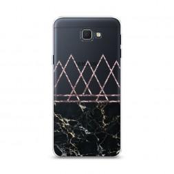 Cиликоновый чехол Черный мрамор и треугольники на Samsung Galaxy J5 Prime 2016