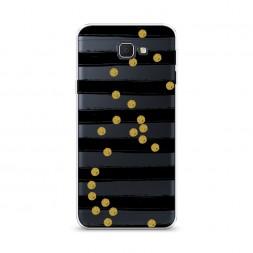 Cиликоновый чехол Черные полоски с золотыми кружками на Samsung Galaxy J5 Prime 2016