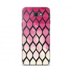 Cиликоновый чехол Розовые листики градиент на Samsung Galaxy J5 Prime 2016