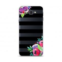 Cиликоновый чехол Цветы на полосках на Samsung Galaxy J5 Prime 2016