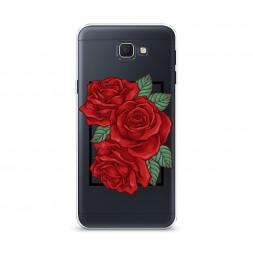 Cиликоновый чехол Три алые розы на Samsung Galaxy J5 Prime 2016