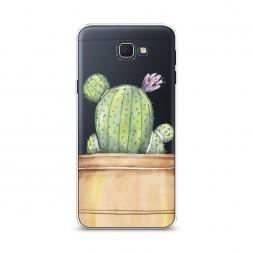 Cиликоновый чехол Кактус с цветком на Samsung Galaxy J5 Prime 2016