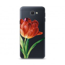 Cиликоновый чехол Красный тюльпан на Samsung Galaxy J5 Prime 2016