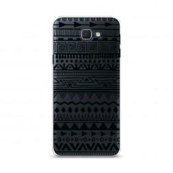 Cиликоновый чехол Узор ацтеков графика черная на Samsung Galaxy J5 Prime 2016
