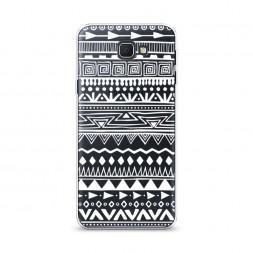 Cиликоновый чехол Узор ацтеков графика белая на Samsung Galaxy J5 Prime 2016