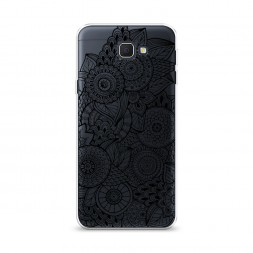 Cиликоновый чехол Цветочная абстракция черная на Samsung Galaxy J5 Prime 2016