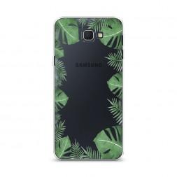 Cиликоновый чехол Листья папоротника рамка на Samsung Galaxy J5 Prime 2016