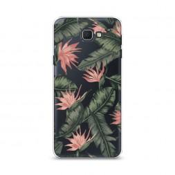 Cиликоновый чехол Цветочная пальма фон на Samsung Galaxy J5 Prime 2016