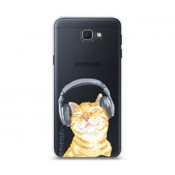 Cиликоновый чехол Кот меломан на Samsung Galaxy J5 Prime 2016