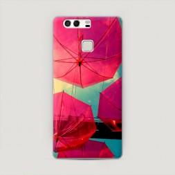 Пластиковый чехол Зонтики розовые на Huawei P9 (Dual)