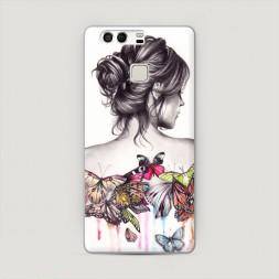 Пластиковый чехол Девушка с бабочками на Huawei P9 (Dual)