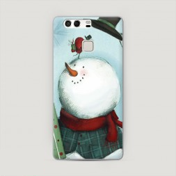 Пластиковый чехол Снеговик на Huawei P9 (Dual)