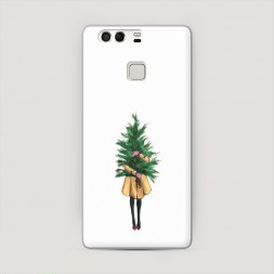 Пластиковый чехол Девушка с елкой на Huawei P9 (Dual)